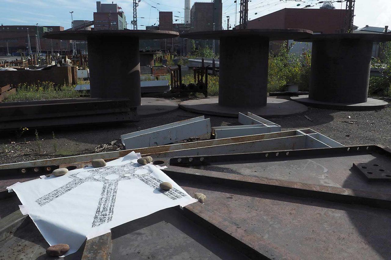 EnergieCultuur-EnergieKultur; foto van frottage op terrein RAG Anthrazit Ibbenbüren