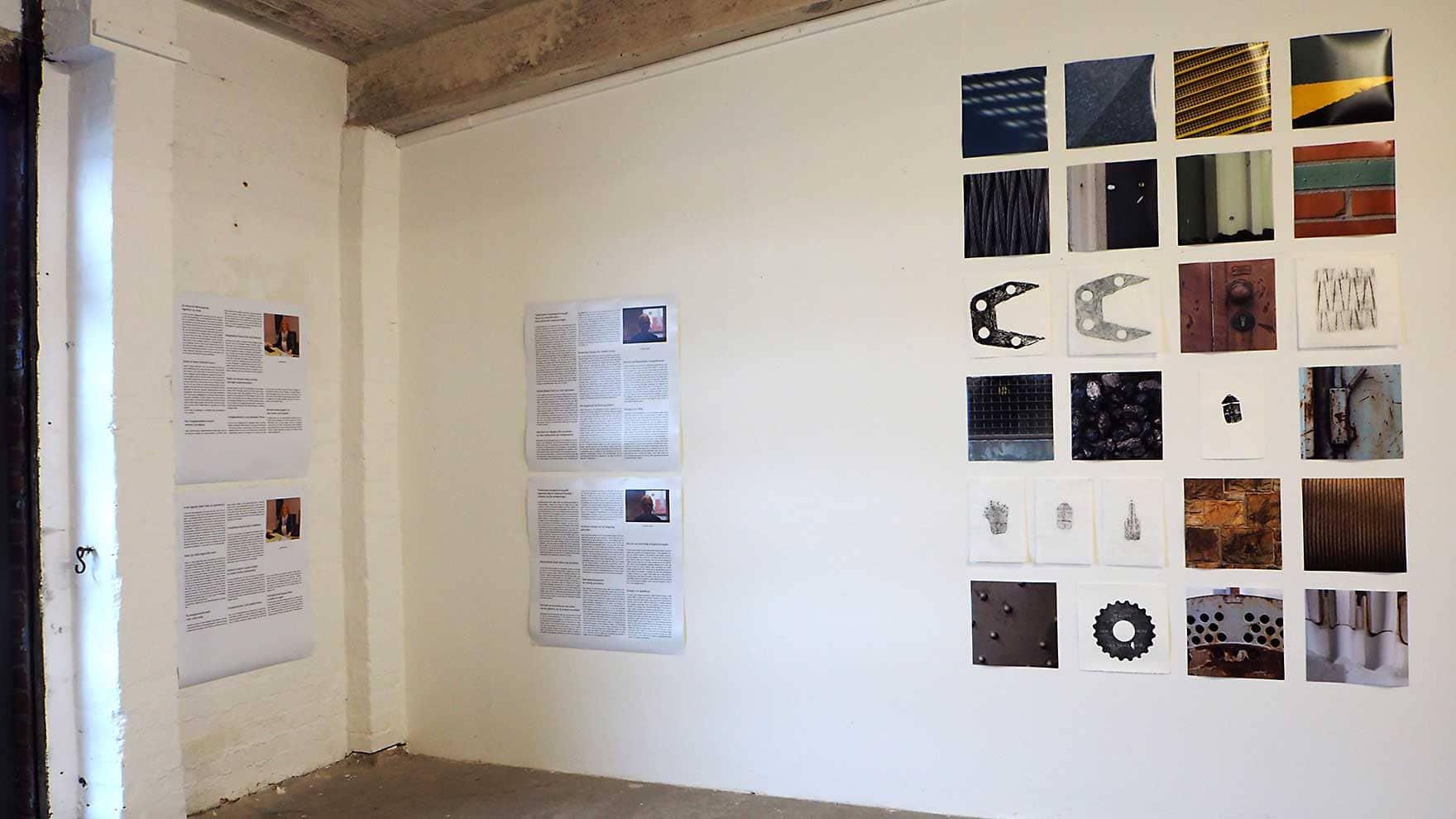 steenkool Ibbenbüren - expositie in Kulturspeicher Dörenthe; inktdrukken op ertspapier, frottages op wenzhou, foto's en interviewteksten