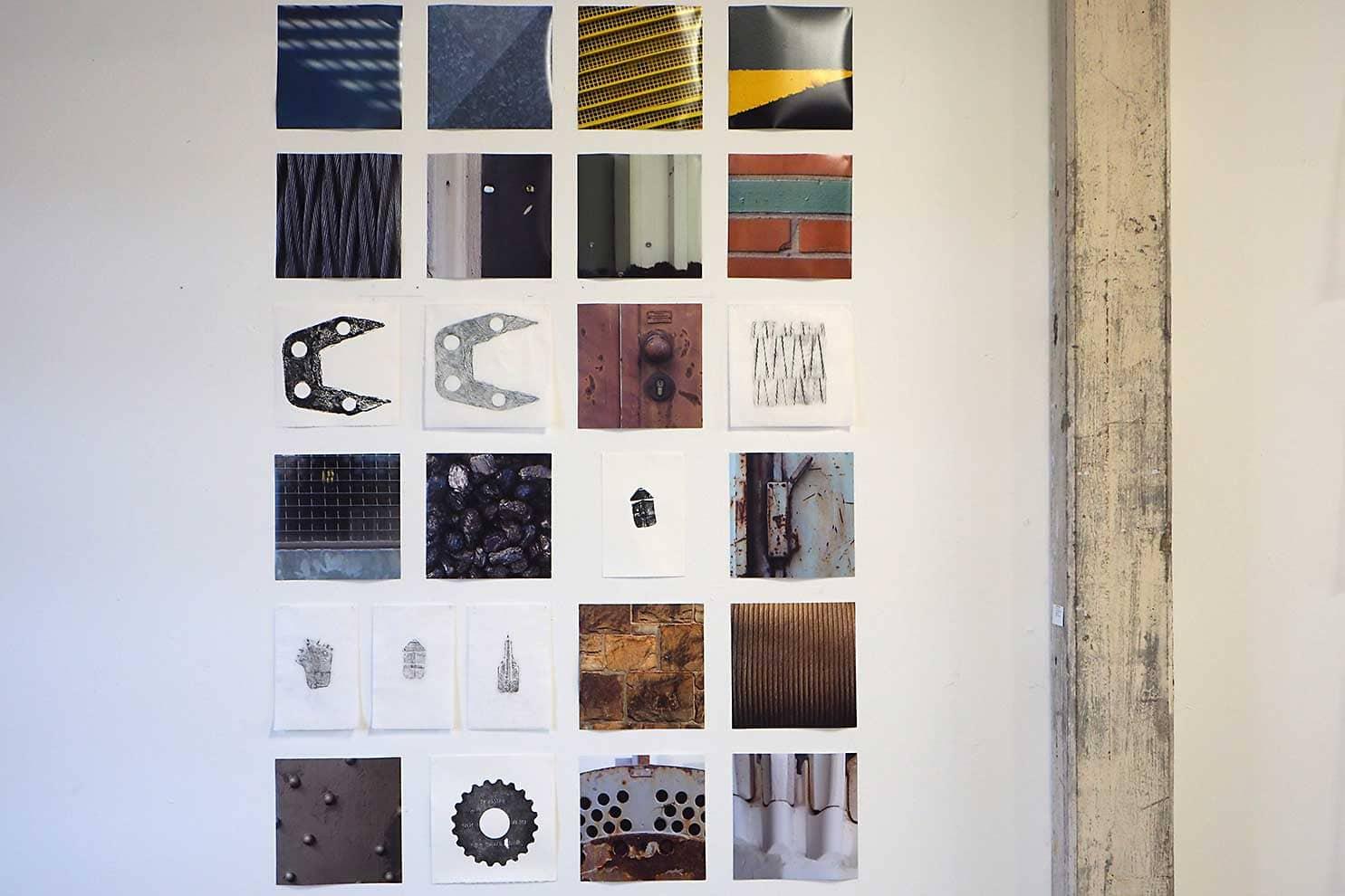 steenkool Ibbenbüren - expositie in Kulturspeicher Dörenthe; inktdrukken op ertspapier, frottages op wenzhou en foto's