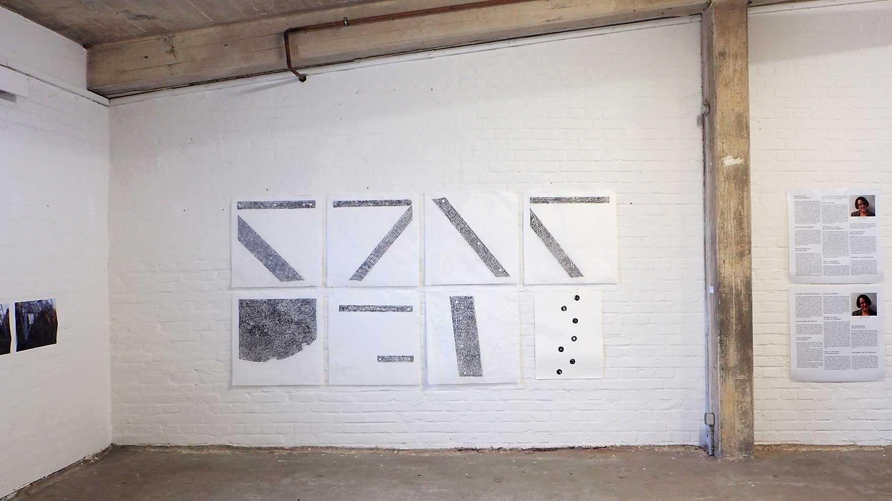 stroom Enschede - expositie in Kulturspeicher Dörenthe; frottages op wenzhou, inktdruk op ertspapier, foto's en intervieuwteksten