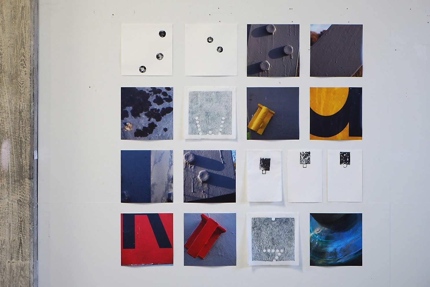 stroom Enschede - expositie in Kulturspeicher Dörenthe; inktdrukken op ertspapier en wenzhou, frottages op wenzhou en foto's