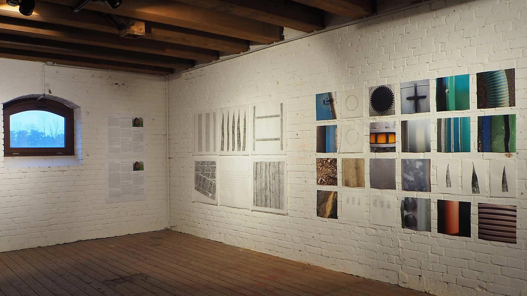 biogas Saerbeck - expositie in Kulturspeicher Dörenthe; frottages op wenzhou, intdrukken op wenzhou en etspapier, foto's